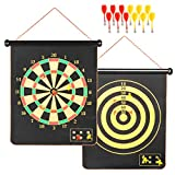 Magnetic Dartboard set, Magnetic Dart Board For Kids And Adults, 17X20 Inch Double Sided Roll Up Dartboard With 12 Strong NdFeb Darts, Safety Game Gift For Kids