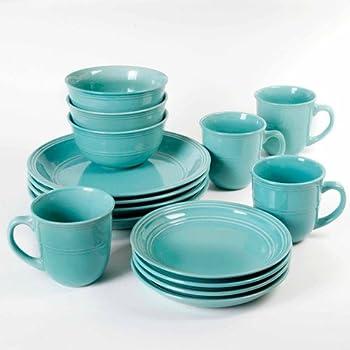 Mainstays Aqua Rainforest 16-Piece Round Dinnerware Set