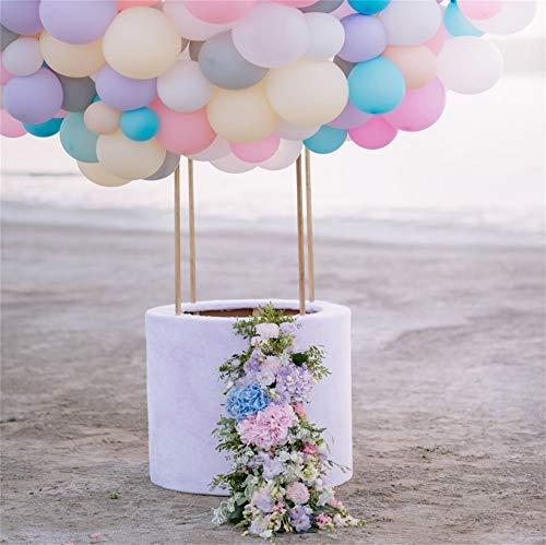 YongFoto 5x5ft Vinyl Foto Achtergrond Kleurrijke Ballonnen met een Mand Versierd met Bloemen door Zee Fotografie Achtergrond Portret Foto Shoot Studio Props