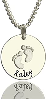 Custom Customized Necklaces Baby Footprints Necklace Pendant Christmas Gift