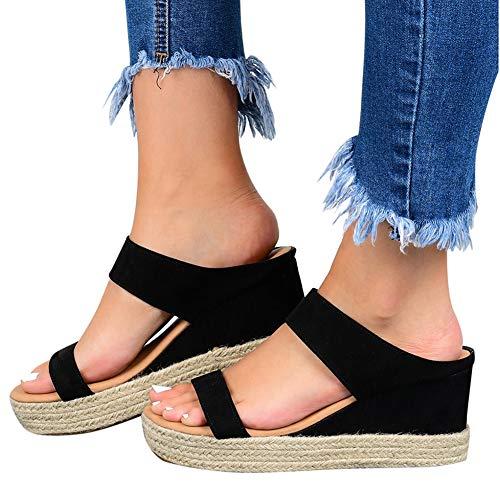 XXZ Sandalias con Punta Abierta para Mujer de Cuero Cómodo Sandalias de Caminar Antideslizantes Zapatos de Viaje Verano Playa,1black,39