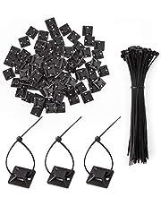 LUTER 100 stuks kabelbinder Lijmmontages Zelfklevende Kabelbinder Basishouders Met 100 stuks Multifunctionele Kabelbinder (15 cm Lengte) (Zwart)
