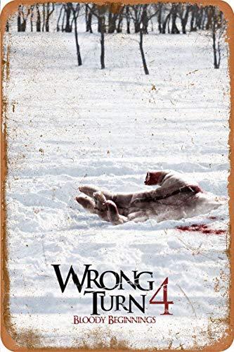 Generic Brands Wrong Turn 4 Bloody Beginnings Zinn Wandschild Plakette kreative Poster hochwertige Wanddekoration Malerei Vintage Metallmalerei Vintage Türschild