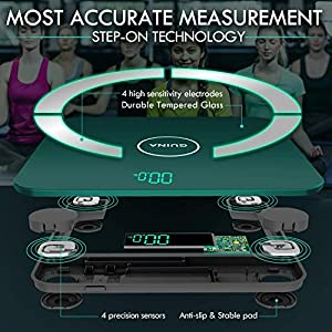 Digital Body Fat Scale Bathroom, Smart Scales Digital Weight and Body Fat, Precision Sensor Scales for Body Weight, Bluetooth Scale with Smartphone App, LED Display and Durable Glass, Green