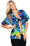 LA LEELA botón Casual Ropa de Playa Likre Suave de la Manga Corta Abajo del Caribe Blusa de Crucero Aloha Sol Las Mujeres Camisa de Campo Azul XXL