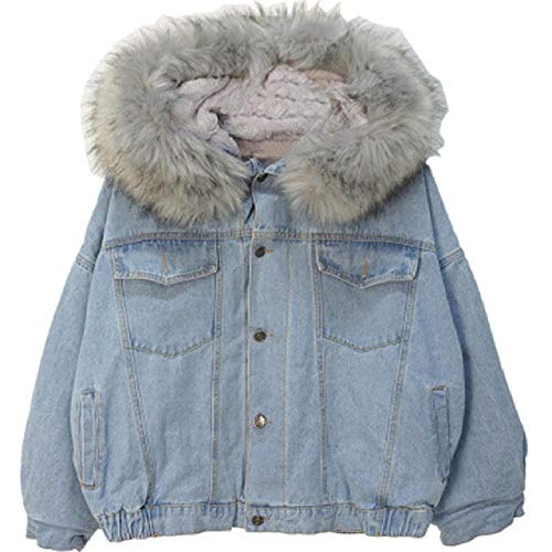 LILIZHAN Plus Size Women's Denim Jacket Faux Fur Collar Women Hooded Coat Ladies Bomber Jackets Women Tops Denim Jackets Female Gray
