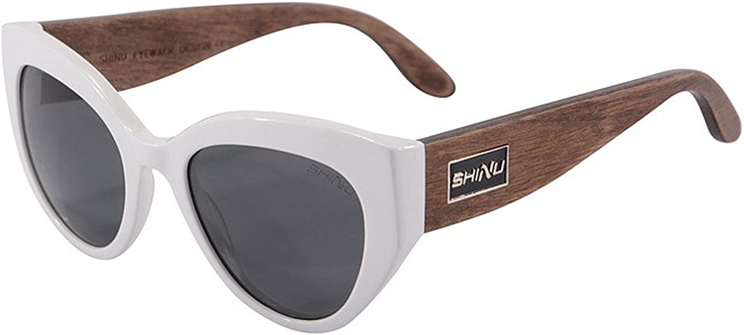 EYES Women's Polarized Driving Sunglasses Cat Eyes Acetate Fibre Frame Wood Leg TAC Lens UV Predection Beach Vacation Outdoor Sunglasses Outdoor (color   White)