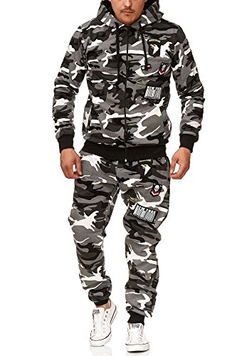 Violento Herren Jogging-Anzug | USA-Patches 685 (XL-Slim, Grau-Camouflage)