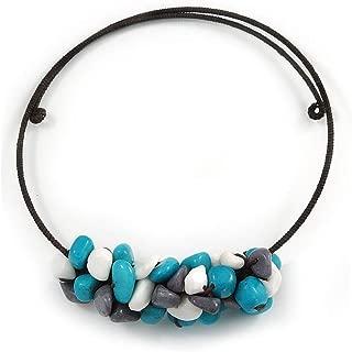 Collar con Colgante de Piedra semipreciosa con Gargantilla de Alambre Flexible (Azul/Gris/Blanco) - Ajustable