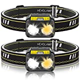 Luz de Cabeza,Eletorot Linterna de Cabeza Frontal LED alta Potencia USB Recargable IPX5 Impermeable Sensor Inteligente para Pesca Montañismo Bicicleta Ciclismo Advertencia Senderismo 2 pcs Paquete