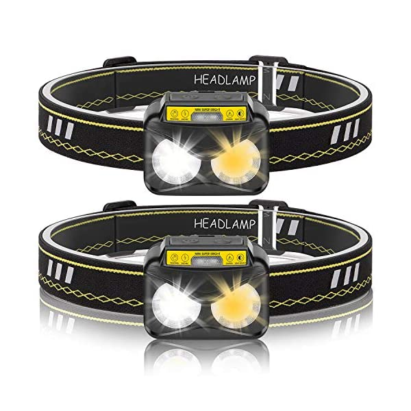 Adult Cycling helmet LED Head Torch, USB Rechargeable Headlamp, Lightweight Super Bright Motion Sensory Headtorch with Warm Light Modes for Kids, Adults, Running, Fishing, Camping, Hiking