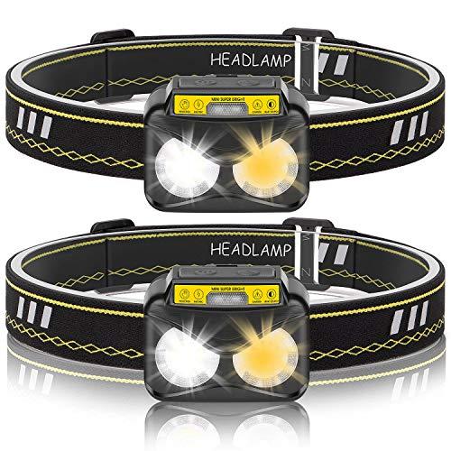 Stirnlampe Kopflampe LED Wiederaufladbare 2 Stück, Wasserdicht Leichtgewichts Mini Stirnlampen mit Warmlichtmodi Perfekt fürs Laufen, Joggen, Angeln, Campen für Kinder und mehr