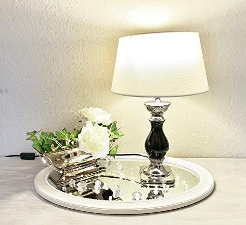 DRULINE Tischlampe Lampe Nachttisch leuchte mit Schirm Klassische Dekoration fürs Schlafzimmer | Wohnzimmer | Esszimmer| aus Keramik in Klein | L x B x H 20 x 20 x 33 cm | Weiß Silber Weiß