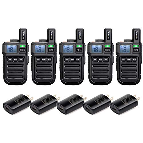Retevis RB15 Vibration Walkie Talkies for Adults,Rechargeable Long Range Two Way Radios,Small Mini,Portable,Hands Free,Remote Emergency Alarm for Church Retail Business(5 Pack)