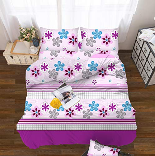 All American Collection Kids Boys Girls Teens Children Soft Comfortable Printed Fitted Flat Bedroom Bed Sheet Set (Twin, Purple Flowers)