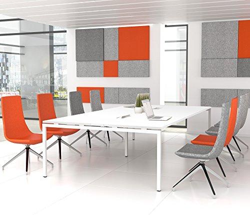 Weber Büroleben GmbH NOVA Konferenztisch 320x164cm Weiß mit ELEKTRIFIZIERUNG Besprechungstisch Tisch, Gestellfarbe:Weiß