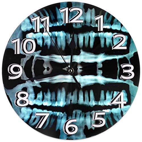 Kncsru Reloj de Pared Halloween Spooky Skeleton Teeth Silencioso Sin tictac Escaneo Continuo Decorativo Reloj de Pared Redondo
