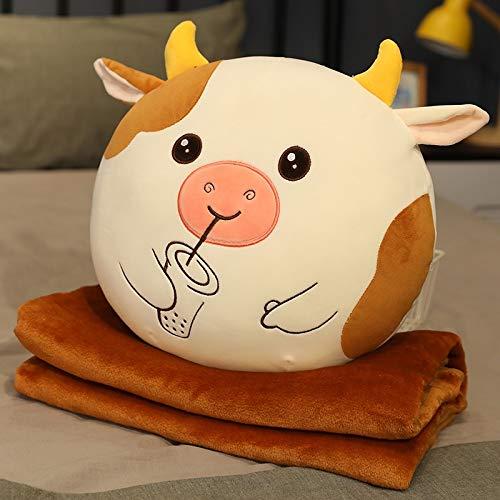 hokkk Lindo Juguete de Felpa de Ganado de Vaca Kawaii Bubble Tea Plushies Almohada Suave con Manta Relleno Calentador de Manos Cojín Regalo para Novia brownwithblanket