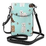 Lsjuee Bolso bandolera de moda para teléfono móvil, teñido anudado colorido, bolso de hombro de cuero PU para mujer, con correa ajustable, chocolate Yorkie, Maltese Biewer Terriers