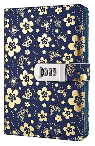 Journal with Lock PU Leather Password Coded Notebook Diary Planner Organizer with Combination Lock, Floral Pattern A5 Wire Binding Daily Notepad with Coded Lock, Pen Holder, Silver Secret Notebook