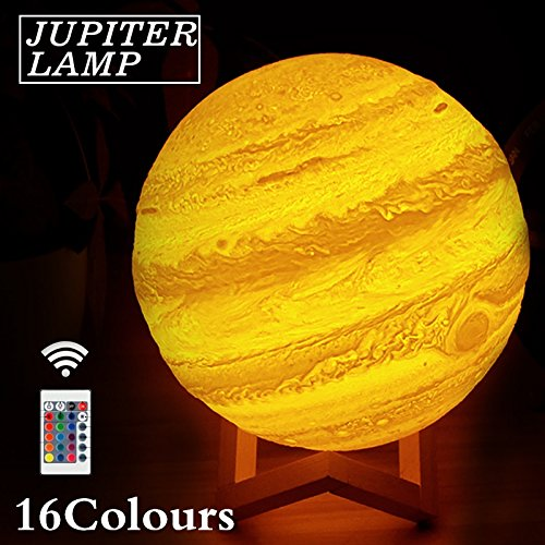 Desinger 3D Lumière Imprimer Jupiter Lampe Terre Lampe Coloré Lune Lampe Rechargeable Changer Touch USB LED Nuit Lumière Décor À La Maison Cadeau Creative Explorer Les Mystères De L'univers