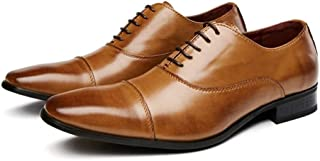 Leather Dress Oxfords for Men Formal Shoes Lace up Genuine Leather Square Toe 3cm Block Heel Stitched Three Joints shoes (Color : Brown, Size : 41 EU)