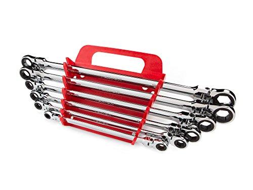 TEKTON Long Flex Ratcheting Box End Wrench Set, 6-Piece (8-19 mm) - Holder | WRN77164