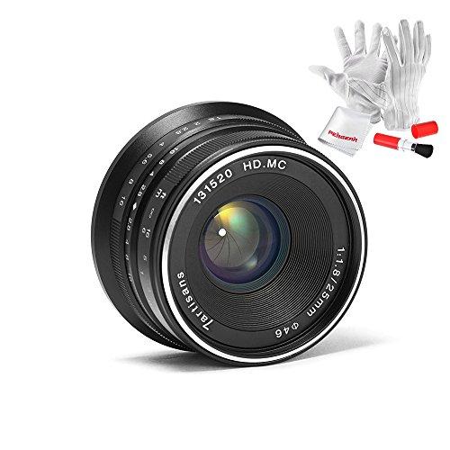 7artisans 25mm F1.8 Manueller Fokus Prime Fixiertes Objektiv für Olympus und Panasonic Micro Four Thirds MFT m4/3 Kameras - Schwarz