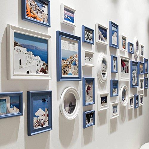 Hty xk Cadre Photo Classique Combinaison de Bois Massif Collage Style méditerranéen Salon Chambre Cadre Mur Combinaison créative de Moderne et Simple Restaurant Photo Mur Blanc et Bleu avec