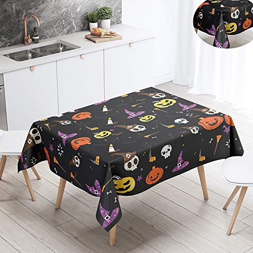 Fansu Halloween Waterproof Table Cloths, Rectangle Washable Tablecloth Stain-Resistant 3D Pumpkin Print Oil-Proof Outdoor Table Cover for Casual Kitchen Party Garden Dinning (Black,100x140cm)
