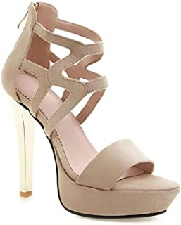 Fashion High Heel Sandals (Color : Apricot, Size : 35)