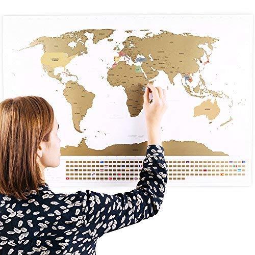Rubbel Weltkarte (Deutsch) +A4 Rubbelkarte von Deutschland (Weiß 84 x 58 cm)