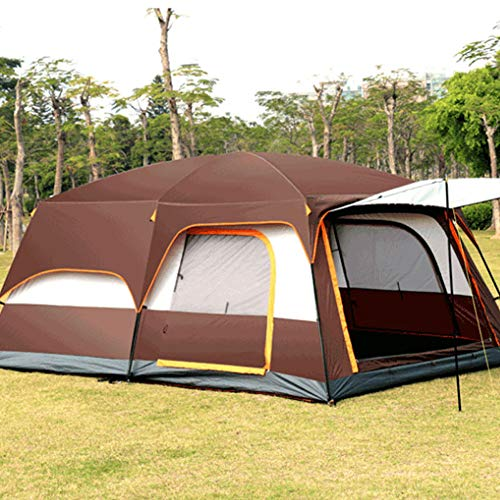 ZYCW Deluxe family tent, Tent with Separate Living and Sleeping Area, Easy to Pitch, 5-8 Person Tent, 100 Percent Waterproof HH 3000 mm (brown,5-8 people)