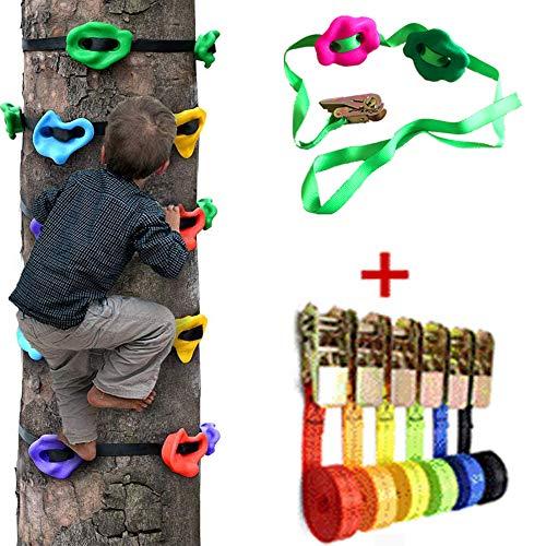 HSJCZMD Kinder-Kletterwand, Halten Outdoor-Klettern Kinder Kletterfelsen Frameset Klettern für Kinder Einfach zu AssembleTree Klettern Werkzeug, Set von Bergsteigerausrüstung,A