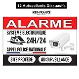 Nouveau - Ker-France - Autocollants Alarme - (12 pièces) - Autocollants dissuasifs et indéchirables PVC - Très Dissuasifs Format 85 mm x 55 mm - Autocollant Anti UV - Autocollant Vidéosurveillance