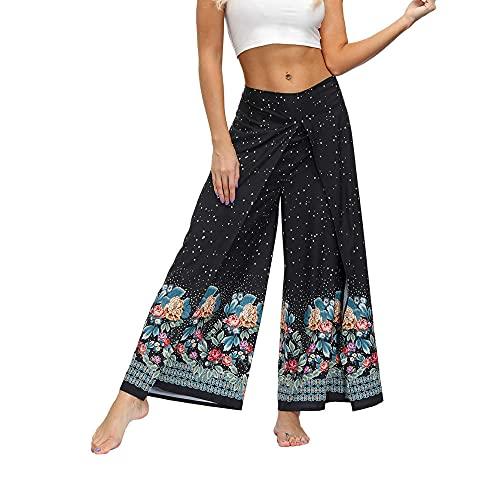 Pantalones De Harén De Yoga para Mujerpatrón Tradicional Estampado De Flores Dividir Sexy Pantalones Anchos De Pierna Vacaciones Yoga Pilates Diario Casual-Negro B_S / M