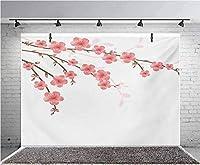 GooEoo 7x5ft 春のアートイラストスタイルロマンチックな桜の柔らかい色の写真の背景子供の誕生日パーティーバナー写真スタジオ小道具家族のパーティー誕生日の背景赤ちゃんシャワービニール材料