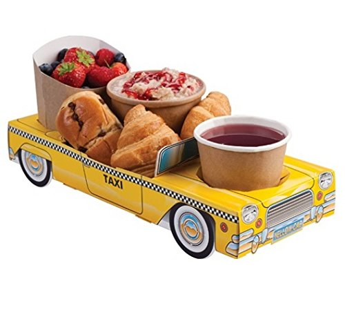 MustBeBonkers x5 New York Yellow Taxi Cab Car - Party Meal Food Trays Snack Lunch Box Plate Tray