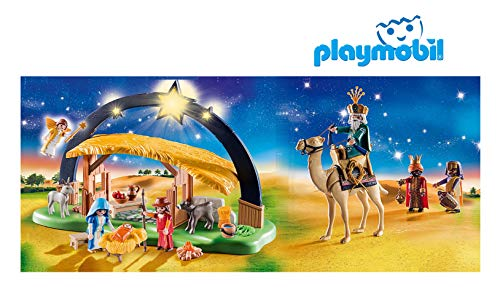 Outletdelocio. Belen Navidad Playmobil con Luz, Pesebre y Reyes Magos incluidos. 100 Piezas.