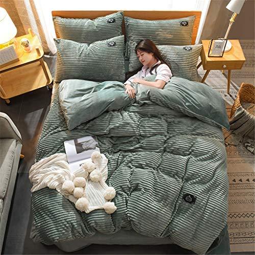 JIAO Påslakan lakan örngott förtjockad korall fluff koreansk stil enkel täcke överdrag 4 delar set varma sängkläder (storlek: Påslakan 220 x 240 cm)