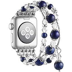 Dark Blue Handmade Beaded Bracelet Replacement for Apple Watch