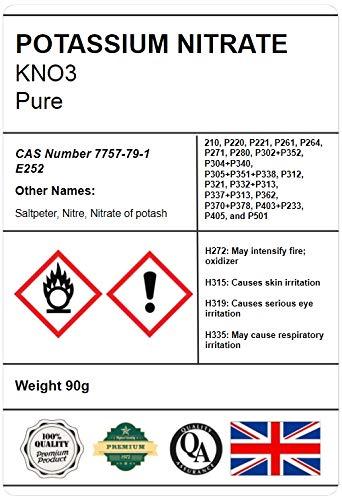 Sal de nitrato puro de potasio Kno3, 90 g, grado alimenticio