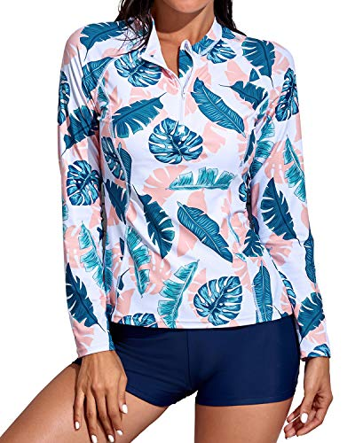 Daci Women Pink Blue Rash Guard Long Sleeve Zipper Boy Shorts Swimsuit UPF 50Bathing Suit M