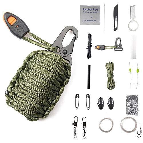 Heinside Ausgezeichnet Multifunktions-Outdoor Karabiner Paracord Survival Kit Schlüsselanhänger Fishing-Feuer-Starter-Regenschirm Seil Keychain Woven Fisch-Tasche Anders