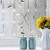 Niviy Window Privacy Film Non-Adhesive Bamboo Window Film Glass Window Coverings for Bedroom Bathroom Home Kitchen Office 17.7in by 78.7in