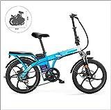 Gpzj Bicicleta Plegable 48V 10AH Bicicleta eléctrica y Rueda de radios de 7 velocidades Horquilla Delantera Absorción de Doble Choque (Marco de Acero de Alto Carbono, 250W)