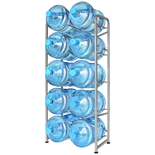 Ationgle 5 Gallon Water Bottle Holder for 10 Bottles, 5 Tiers Heavy-Duty Water Cooler Jug Rack with Reinforcement Frame for Kitchen Office, Silver Grey