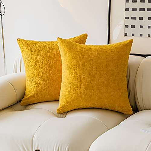 Kevin Textile Decor Velvet Throw Pillow Covers, Striped Decorative Pillow Case Handmade Cushion Cover for Couch, 18x18 inches,2 Pieces,Primrose Yellow