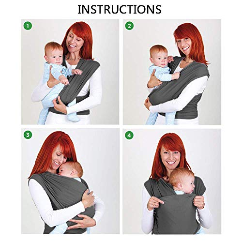 CUBY Baby Sling Wrap Carrier from Newborns to Todder Child (Gray)