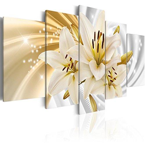 murando Acrylglasbild Blumen 200x100 cm 5 Teilig Wandbild auf Acryl Glas Bilder Kunstdruck Moderne Wanddekoration - Lilien Abstrakt b-A-0319-k-n